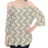 Yellow Floral Pattern Cold Shoulder Top
