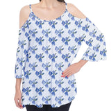 Blue Flowers and Polka Dots Pattern Cold Shoulder Top