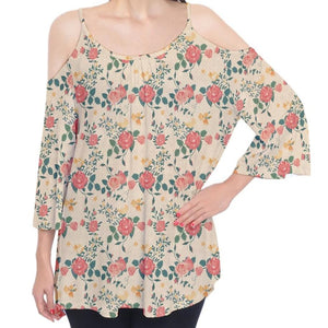 Roses Pattern Yellow Cold Shoulder Top