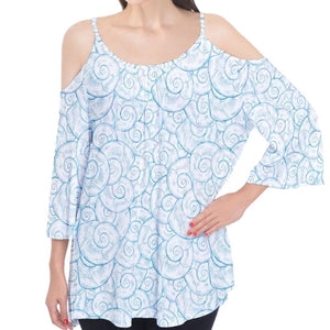 Blue and White Shells Pattern Cold Shoulder Top