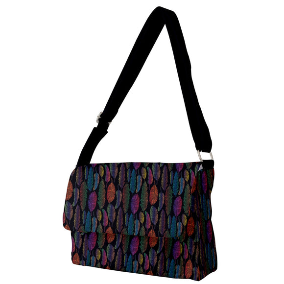 Feather Pattern Full Print Messenger Bag
