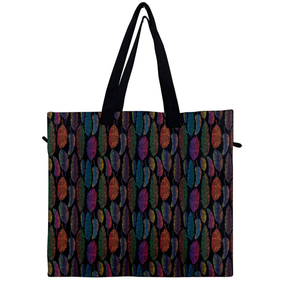 Feather Pattern Canvas Travel Tote