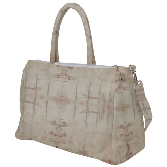 Beige Grunge Pattern Duffel Travel Bag