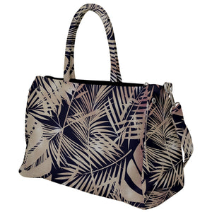 Gold Tropical Leaves Pattern Duffel Travel Bag