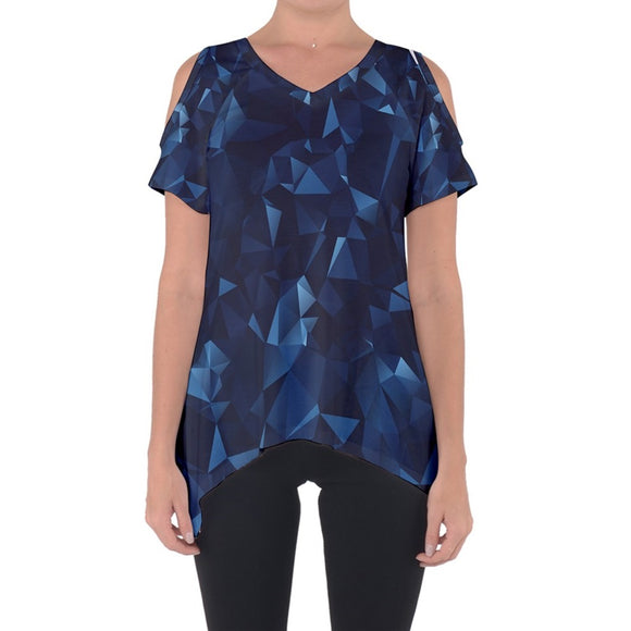 Blue Geometric Design Cold Shoulder Top
