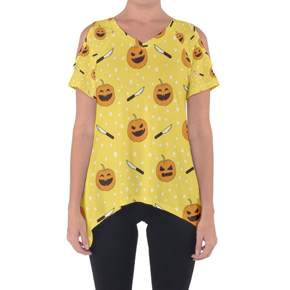 Jack O'Lanterns and Carving Knives Cold Shoulder Top