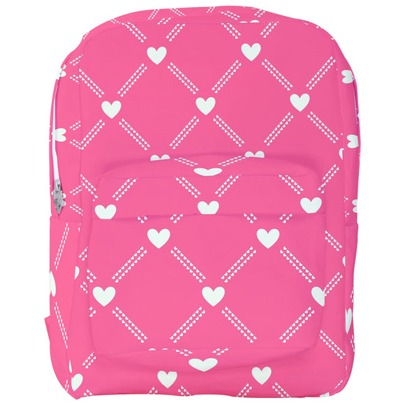 White Hearts Pattern Backpack in Various Colors