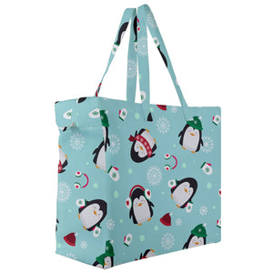 Penguins Winter Pattern Canvas Travel Tote