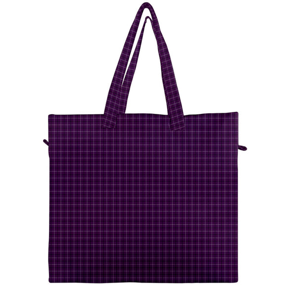Purple Plaid Canvas Travel Tote