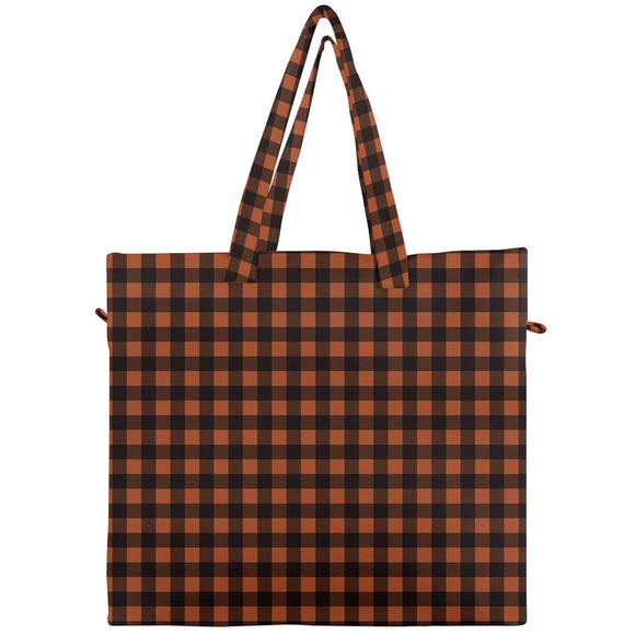 Brown Plaid Canvas Travel Tote