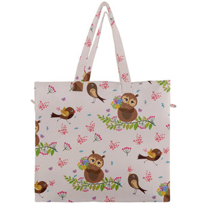 Birdies and Owls Canvas Travel Tote