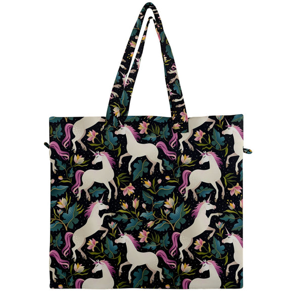 Unicorns Pattern Canvas Travel Tote