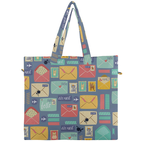 Postal Pattern with Animal Stamps Canvas Travel Tote