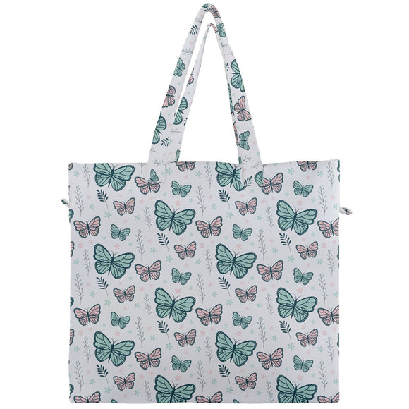 Green Butterflies Canvas Travel Tote
