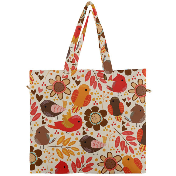 Birdies Floral Fall Pattern Canvas Travel Tote