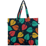 Colorful Leaves Pattern Canvas Travel Tote