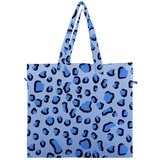 Blue Leopard Print Canvas Travel Tote