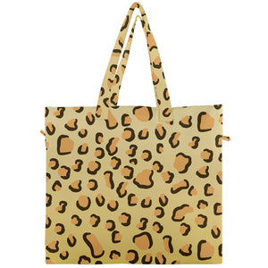 Leopard Print Canvas Travel Tote
