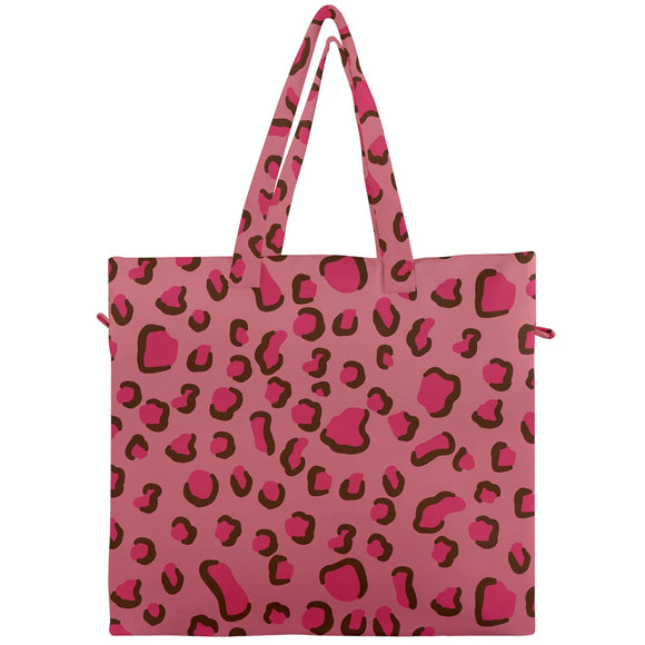 Pink Leopard Print Canvas Travel Tote