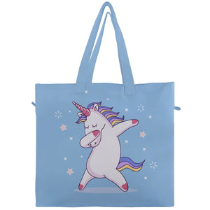 Dabbing Unicorn Canvas Travel Tote