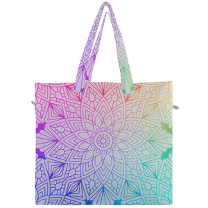 Colorful Mandala Floral Canvas Travel Tote