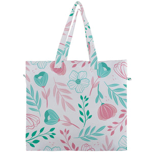 Pink and Green Floral Canvas Travel Tote