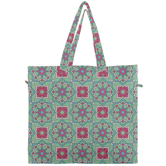 Pink and Green Geometric Floral Canvas Travel Tote