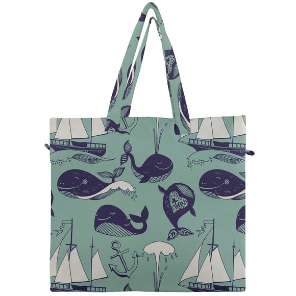 Whales and Ships Pattern Canvas Travel Tote