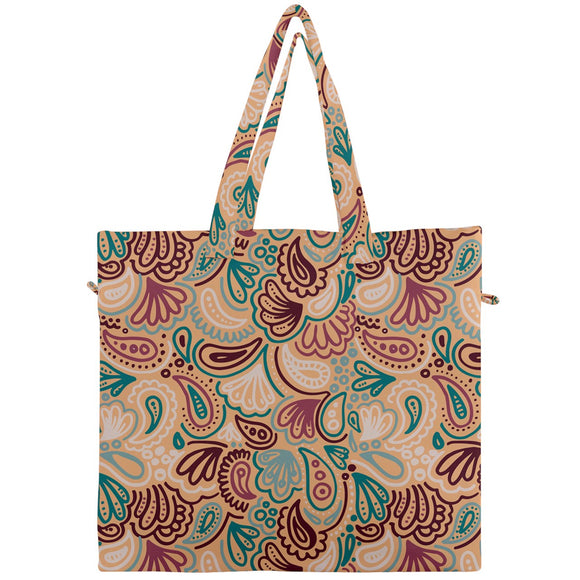Orange and Red Paisley Canvas Travel Tote