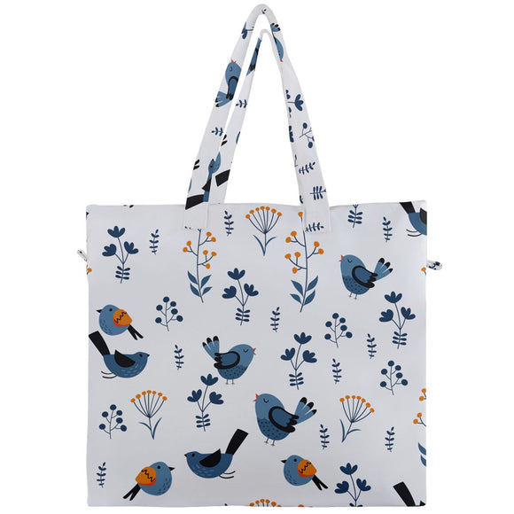 Blue Birds Pattern Canvas Travel Tote