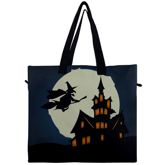 Witch on Broomstick Canvas Travel Tote