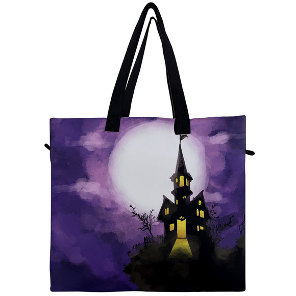 Haunted House Canvas Travel Tote