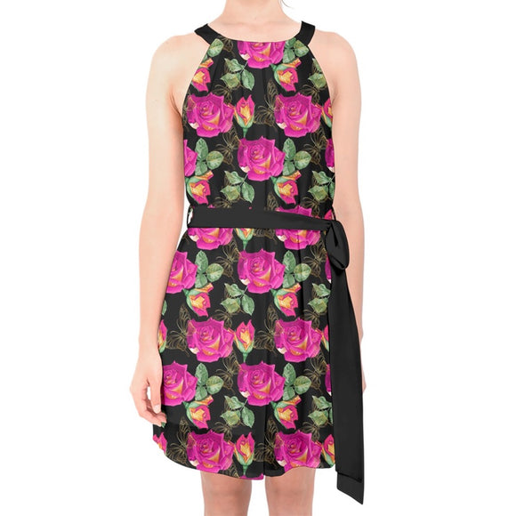 Roses and Butterflies Pattern Belted Chiffon Shift Dress