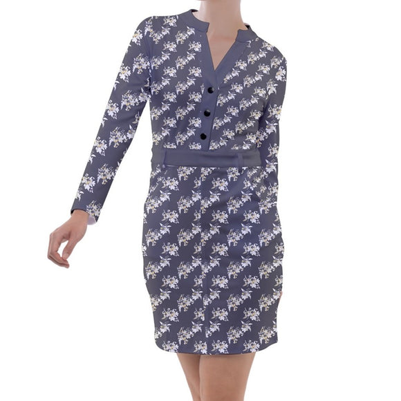 Gray Floral Pattern Long Sleeve Button Top Sheath Dress