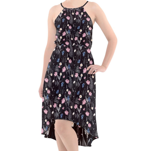 Black Floral Chiffon High-Low Dress
