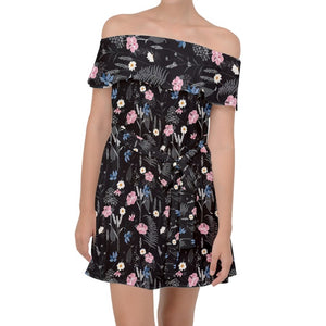 Black Floral Off Shoulder Chiffon Dress