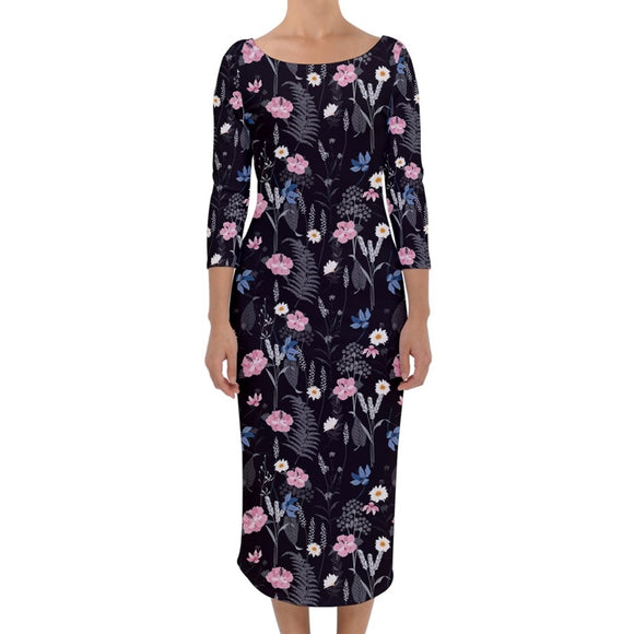 Black Floral 3/4 Sleeve Pencil Dress