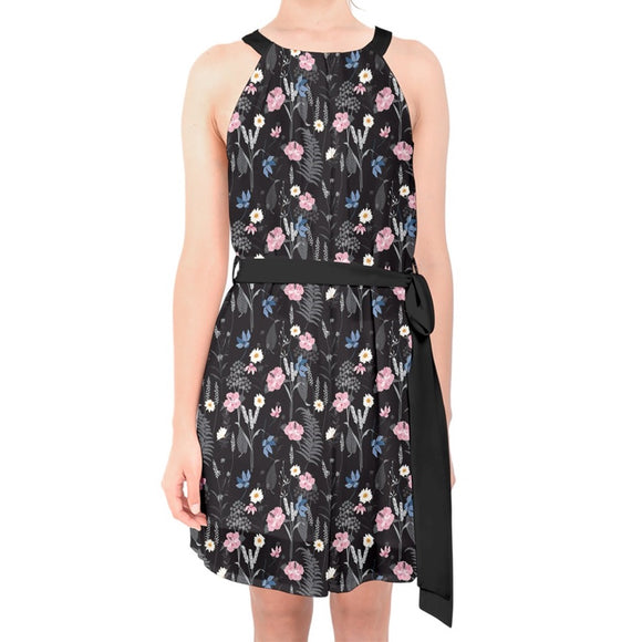 Black Floral Belted Chiffon Shift Dress