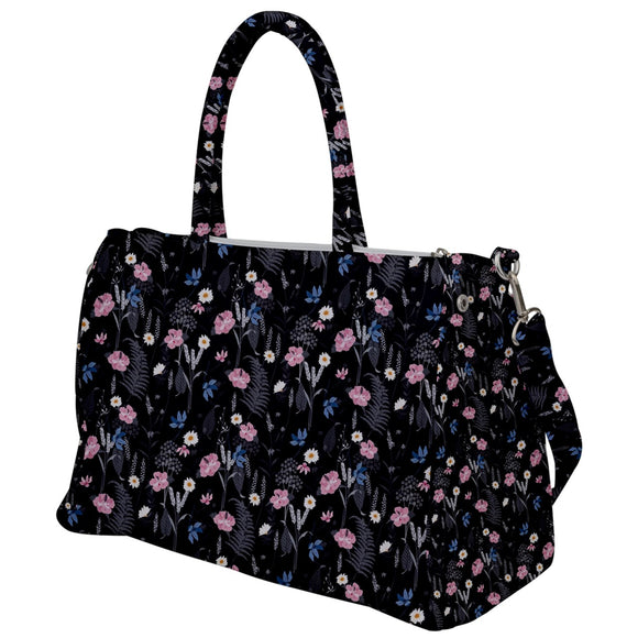 Black Floral Travel Bag