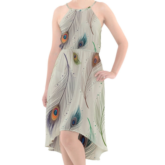 Peacock Feathers Pattern Chiffon High-Low Dress