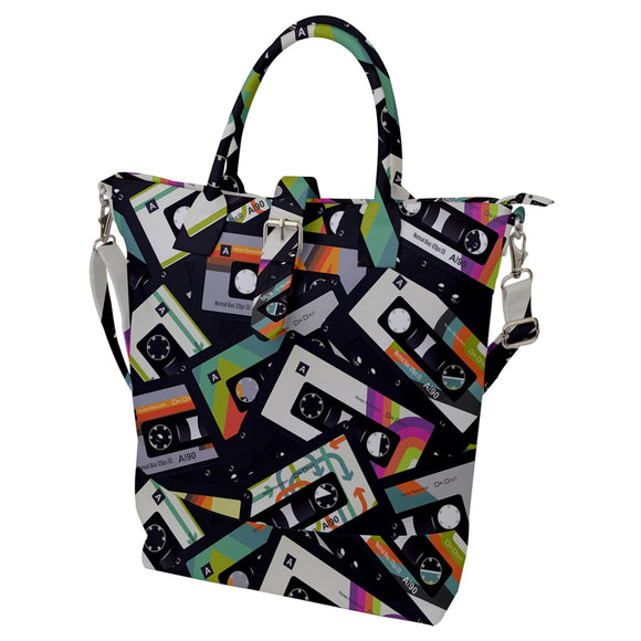 Cassette Tapes Pattern Buckle Top Tote Bag
