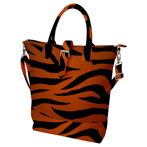 Tiger Print Buckle Top Tote Bag