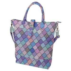 Colorful Tiled Pattern Buckle Top Tote Bag