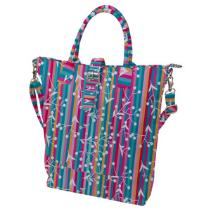 Colorful Stripes with Floral Pattern Buckle Top Tote Bag