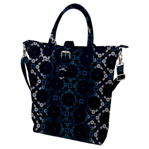 Blue Ombre Floral Geometric Pattern Buckle Top Tote Bag