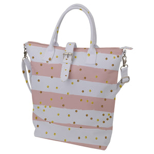 Stripes and Spots Buckle Top Tote Bag