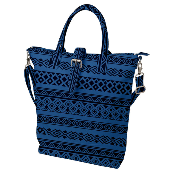 Blue Gray Geometric Pattern Buckle Top Tote Bag