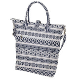 Gray and White Geometric Pattern Buckle Top Tote Bag
