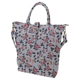 Gray Floral Buckle Top Tote Bag