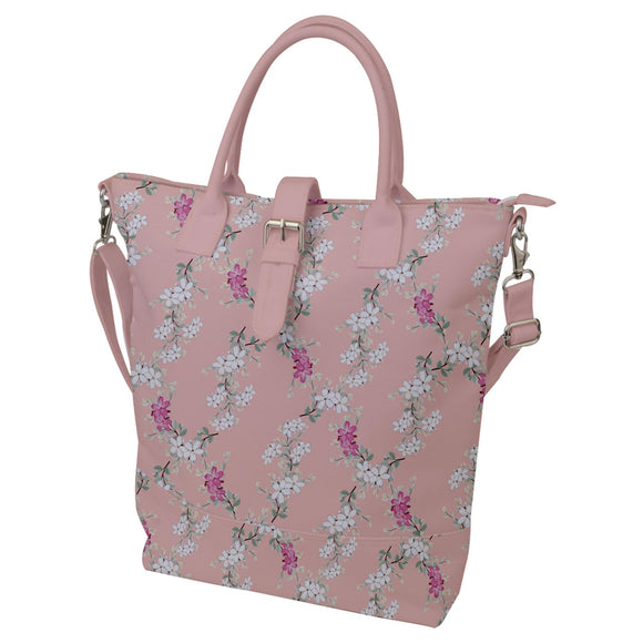 Pink Floral Buckle Top Tote Bag